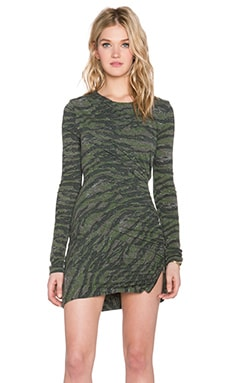 Pam & Gela Long Sleeve Twisted Zip Dress in Camo