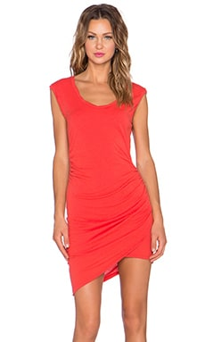Pam & Gela Ruched Mini Dress in Shrimp