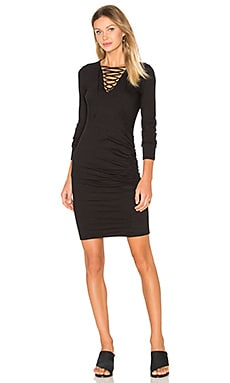 Lace Up Ruched Dress