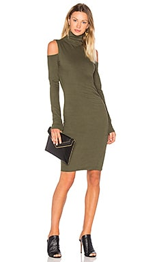 Pam & Gela Cold Shoulder Turtleneck Dress in Olive