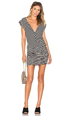 Henley Muscle Dress in Cream & Black Stripe