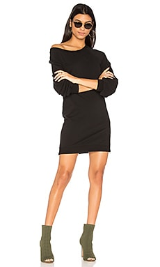Destroyed Off Shoulder Dress in Black
