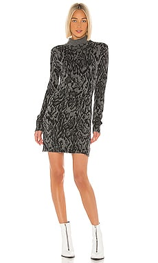 Ocelot Mock Neck Long Sleeve Dress Pam & Gela $163