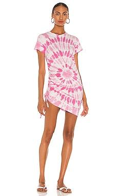 Tie Dye Side Ruched Mini Dress Pam & Gela $145 NEW