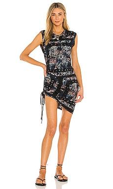 Tie Dye Sleeveless Ruched Dress Pam & Gela $145