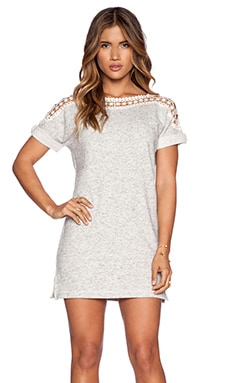 Pam & Gela Crochet Sweatshirt Dress in Heather Grey