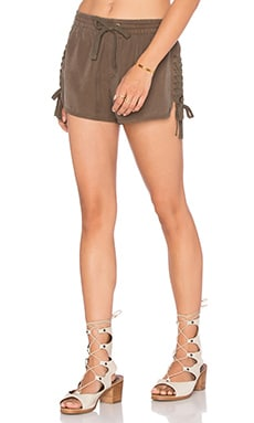 Pam & Gela Lace Up Side Tencel Short in Army