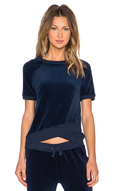 Pam & Gela Short Short Sleeve Sweatshirt in Navy