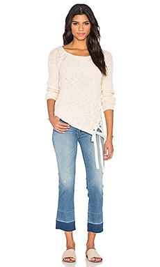 Pam & Gela Lace Up Sweater in Cream