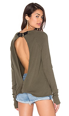 x REVOLVE Destroyed Twist Back Sweater in Olive
