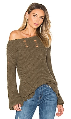 Shredded Wavy Sweep Sweater in Army