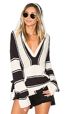 Striped Baja Sweater in Black & Cream