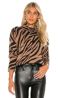 Zebra Funnel Neck Sweater Pam & Gela $179