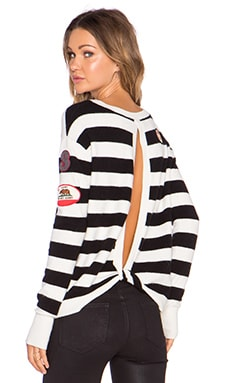 Pam & Gela Twist Back Sweater in Black & White