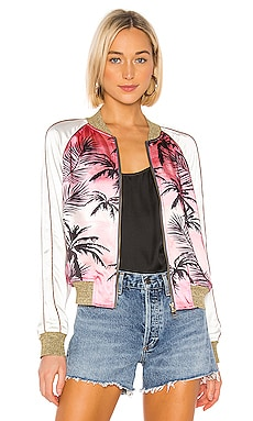 Colorblock Satin Jacket in Pink Sunset Pam & Gela $192