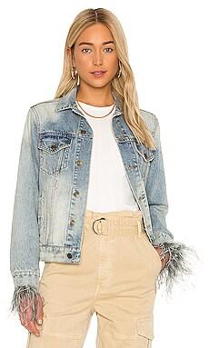 Feather Cuffed Denim Jacket Pam & Gela $295