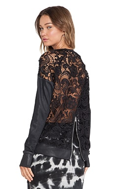 Pam & Gela Coated Lace Sweatshirt in Black