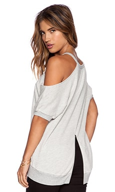 Pam & Gela Open Shoulder Sweatshirt in Heather Grey