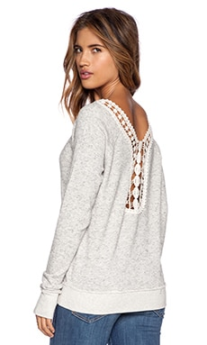 Pam & Gela Crochet Hi Lo Sweatshirt in Heather Grey