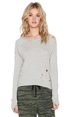 Pam & Gela Annie Hi-Low Destroy Sweatshirt in Heather Grey
