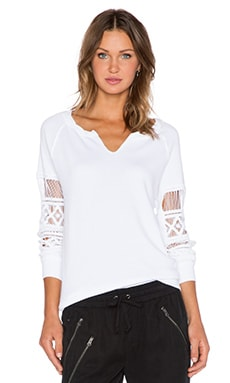 Pam & Gela Hi-Low Lace Sweatshirt in White