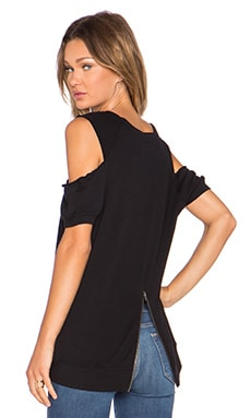 Pam & Gela Cold Shoulder Short Sleeve Sweatshirt in Black