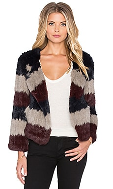 Pam & Gela Rabbit Fur Coat in Multi Stripe