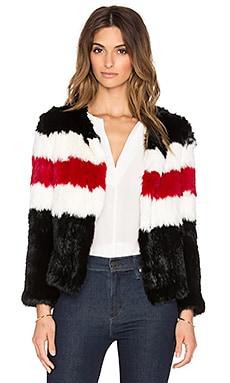 Pam & Gela Knitted Rabbit Fur Jacket in Black & Cream & Red