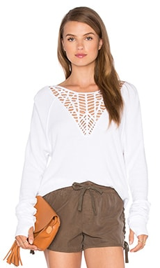 Lace Sweatshirt in White