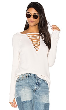 Crew Neck Lace Up Sweatshirt in Parchment