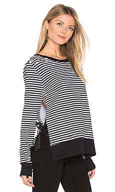 Stripe Side Slit Sweatshirt
