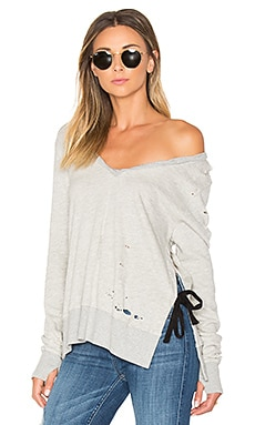 V-Neck Side Slit Sweatshirt in Heather Grey