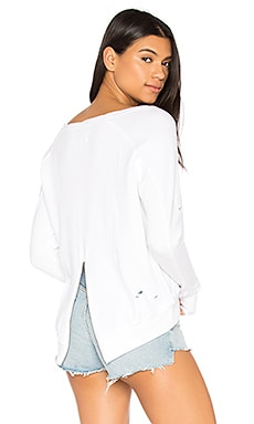 Destroyed Annie Hi Lo Sweatshirt en Blanc