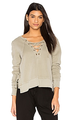 Side Slit Lace Up Sweatshirt in Sage