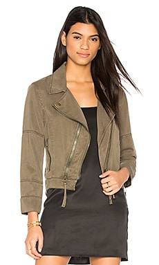 Cropped Moto Jacket in Army