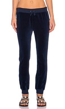 Pam & Gela Betsee Velour Sweatpant in Navy