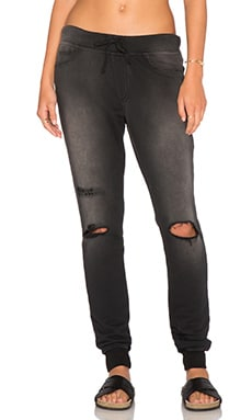 Pam & Gela Destroyed Sweatpants in Black Indigo Wash