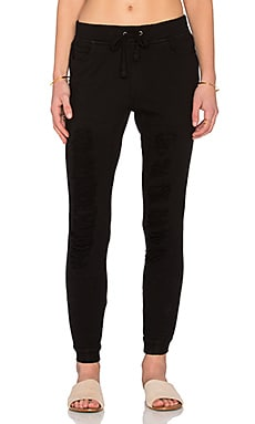 Pam & Gela Destroyed Track Pant in Black