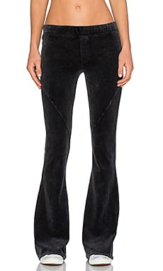 Pam & Gela Slim Velour Flare in Mineral Black