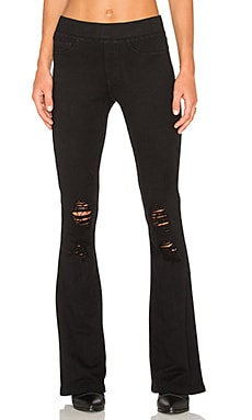 Pam & Gela Destroyed Flare Track Pant in Black