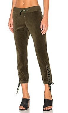 Lace Up Sweatpant in Olive