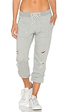 Pam & Gela Destroyed Sweatpant in Heather Grey