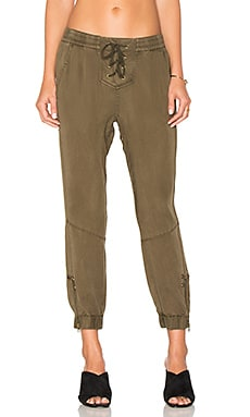 Lace Up Closure Pant in Forest