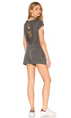 Pam & Gela Short Sleeve Crochet Romper in Pigment Black