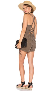 Tie Back Romper in Army