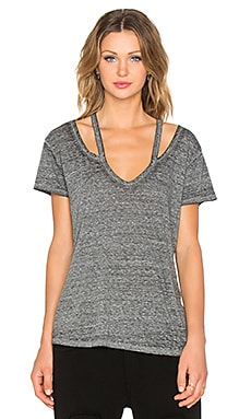 Pam & Gela Split V Neck Tee in Burnout Heather Grey