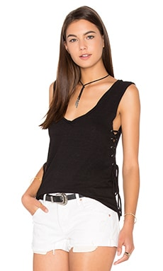 Side Lace Up V Neck Tank in Black