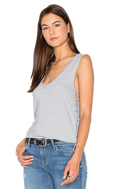 Side Lace Up V Neck Tank in Light Grey