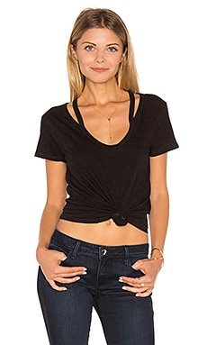 Split V-Neck Tee in Black