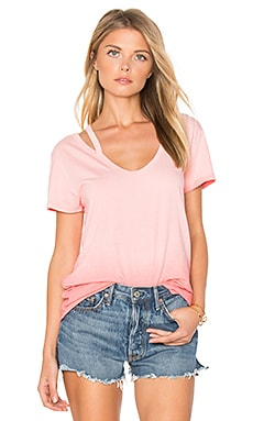 Split V Neck Tee in Sunset Pink